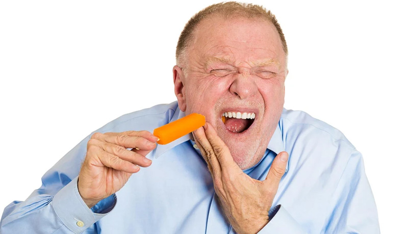 Pain at tasting frozen or hot foods